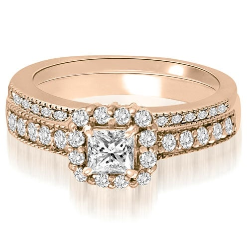 1.09 cttw. 14K Rose Gold Halo Princess And Round Diamond Bridal Set