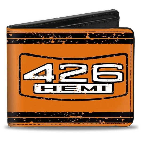 426 Hemi Badge Weathered Orange Black White Bi Fold Wallet - One Size Fits most