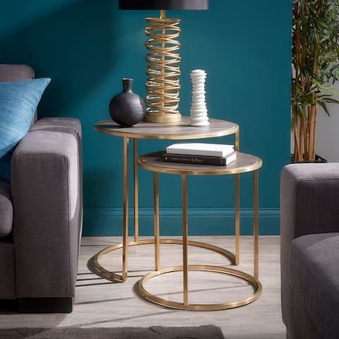Strick & Bolton Rimma Gold and Reclaimed Wood Nesting Table Set