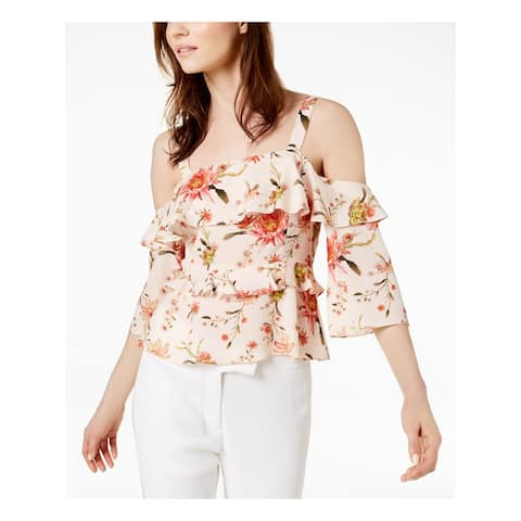 RACHEL ZOE Womens Pink Cold Shoulder Ruffled Printed 3/4 Sleeve Square Neck Top Size: 2