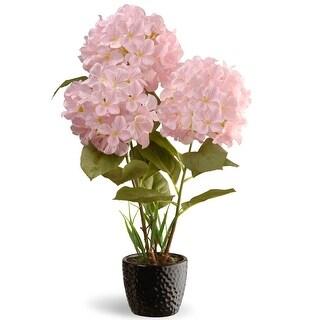 "20"" Potted Artificial Pink Hydrangea Flower Arrangement in Black Pot - N/A"