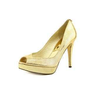 Michael Michael Kors York Women  Open Toe Canvas Gold Platform Heel