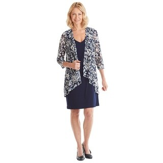 Connected Apparel Midi Length Dress with Attached Floral Jacket - Navy & White