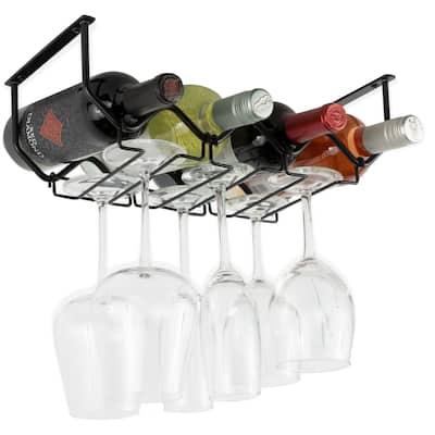 Wallniture Piccola Under Cabinet Wine Bottle Holder and Stemware Rack