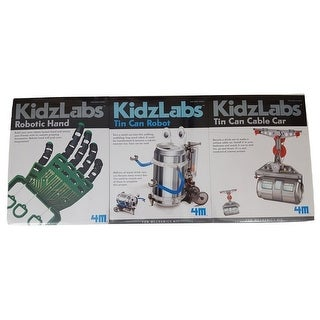 4M 3-Pack KidzLabs - Robotic Hand / Tin Can Robot / Tin Can Cable Car - MultiColor