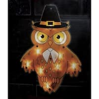 "16"" Lighted Pilgrim Owl Thanksgiving Window Silhouette Decoration"