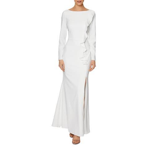 Laundry by Shelli Segal Women's Ruffled Long Sleeve Full Length Column Gown - Ivory