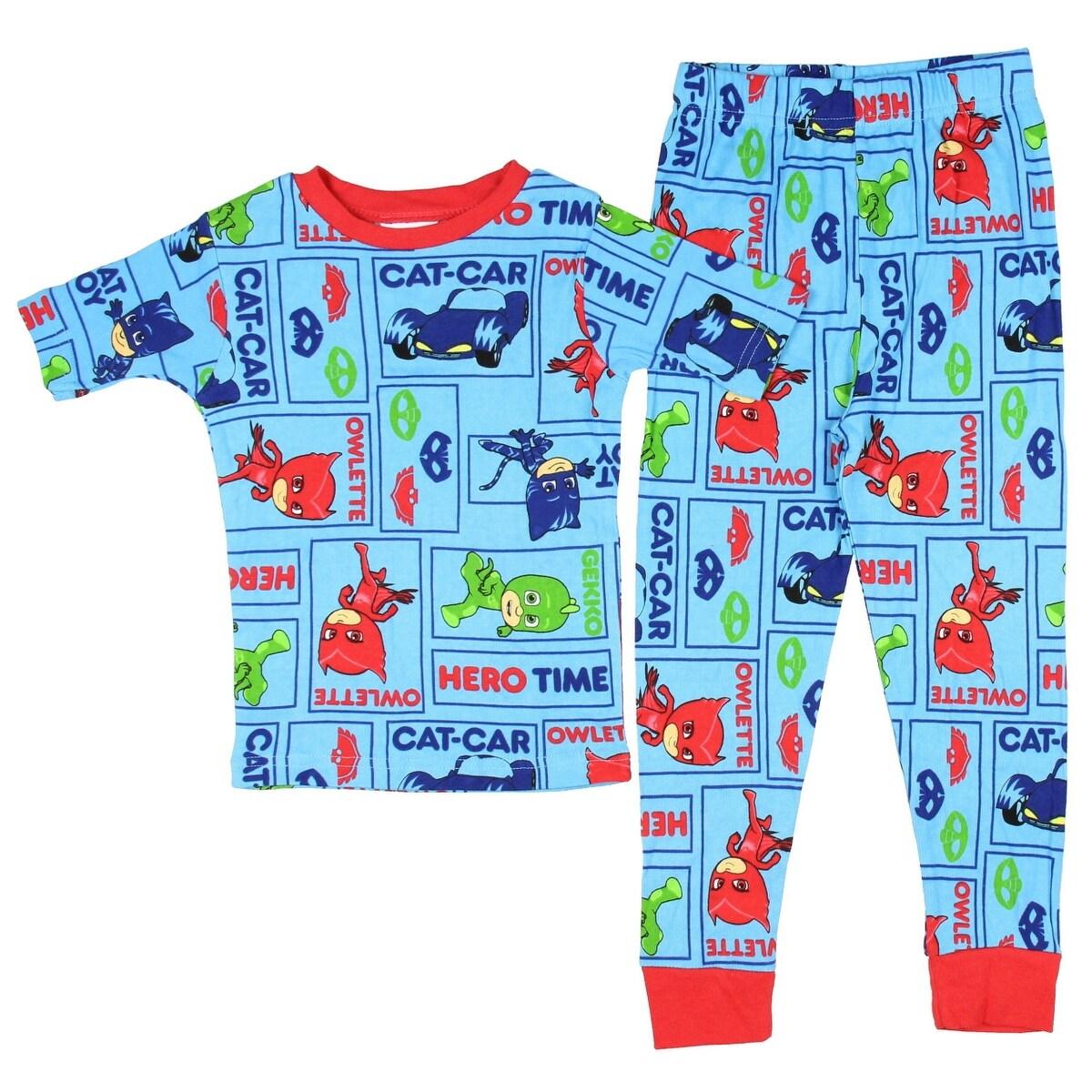 PJ Masks Toddler Boys 3-Piece Blue//Red T-Shirt Shorts /& Pants Pajama Set