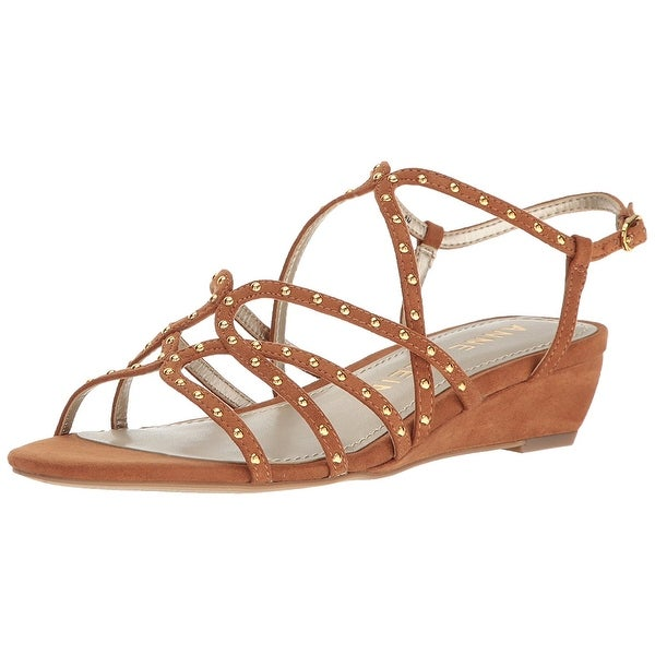 Anne Klein Womens Mallory Fabric Round Toe Casual Strappy Sandals
