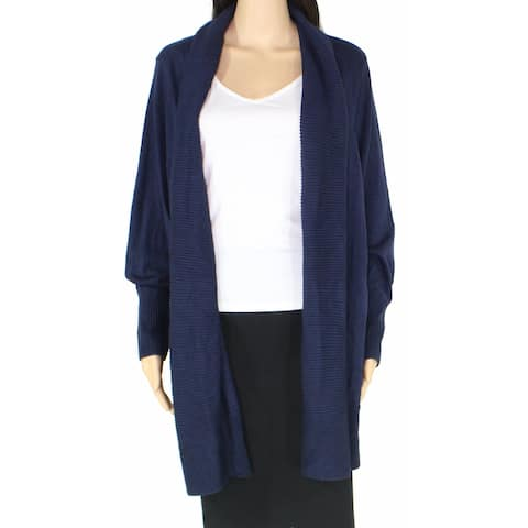 Charter Club Womens Sweater Navy Blue Size 3X Plus Cardigan Open Front