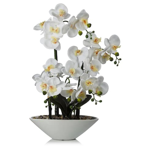 "Enova Home 24"" Artificial Real Touch Orchids Flower in White Ceramic Pot For Home Wedding Decoration"