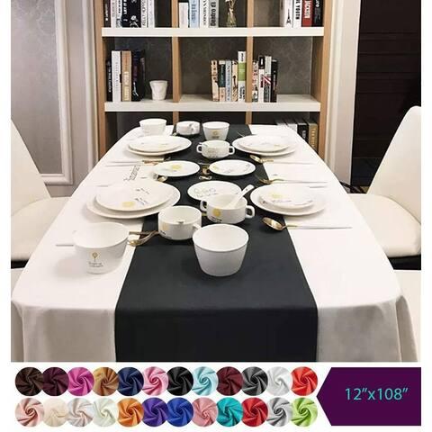 "Oussum Silk Satin Table Runner Tablecloth 12"" x 108"""