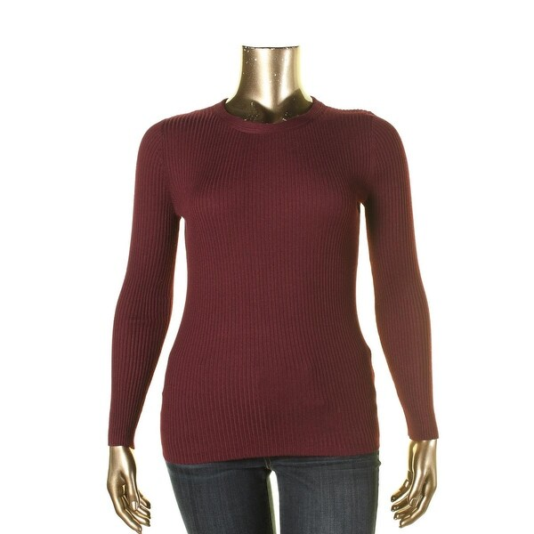 Hooked Up Womens Pullover Sweater Ribbed Long Sleeves