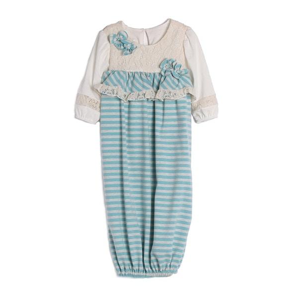 Isobella & Chloe Baby Girls Blue White Stripe Lace Elastic Ends Layette Newborn