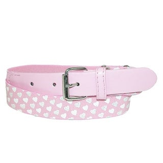 Landes Girls' Elastic with Polka Dot Hearts Adjustable Belt - Pink Rose