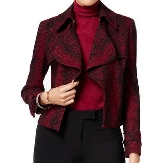 Anne Klein NEW Red Black Women's Size 10 Snakeskin-Printed Jacket