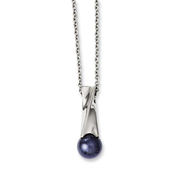 Chisel Stainless Steel Blue Simulated Pearl Polished Pendant 18in Necklace (2 mm) - 18 in