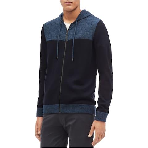Calvin Klein Mens Full Zip Color Block Hoodie Sweatshirt, Blue, XX-Large