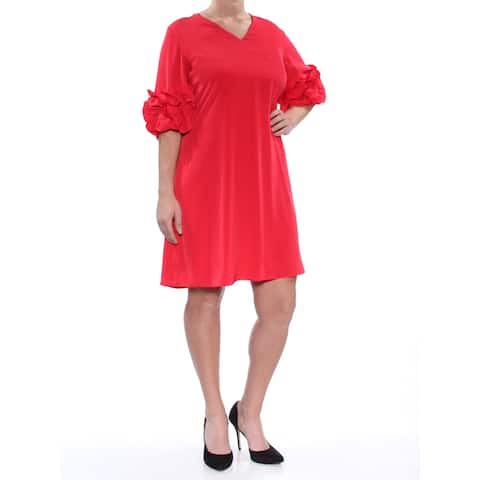 ALFANI Red 3/4 Sleeve Above The Knee Shift Dress Size 14