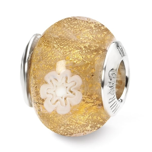 Italian Sterling Silver Reflections Gold/White Flower Bead (4mm Diameter Hole)