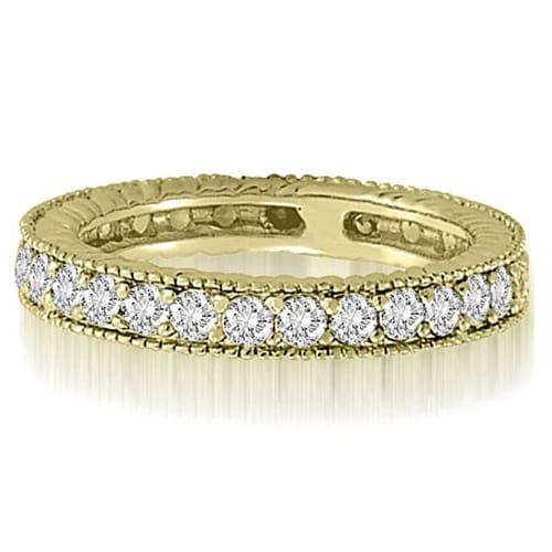 0.70 cttw. 14K Yellow Gold Antique Round Cut Diamond Wedding Band