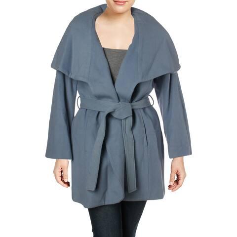 Tahari Womens Plus Marla Wrap Coat Winter Wool