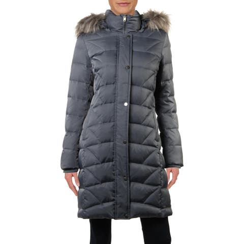 Marc New York by Andrew Marc Womens Medina Down Coat Faux Fur Trim Quilted - Dusty Sky - S