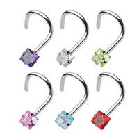 "Surgical Steel Nose Screw with 3mm Prong-Set Square Gem - 18 GA 1/4"" Long (3mm Ball) (Sold Ind.)"