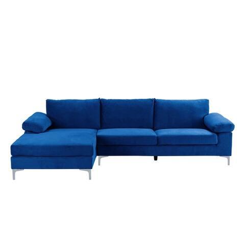 Velvet Upholstered L-Shape Sectional Sofa