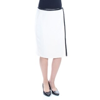 Womens Ivory Knee Length Wrap Wear To Work Skirt Petites Size 4