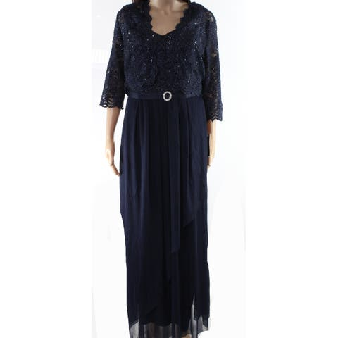 Alex Evenings Navy Blue Womens Size 12 Floral Lace Shimmer Gown