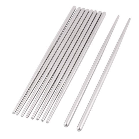 "Stainless Steel Food Chopsticks Silver 5 Pairs - 9"" x 0.2""(L*Max.D)"