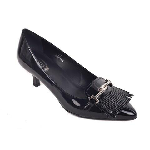 Tods Womens Black Patent Leather Double T Fringe Kitten Heels
