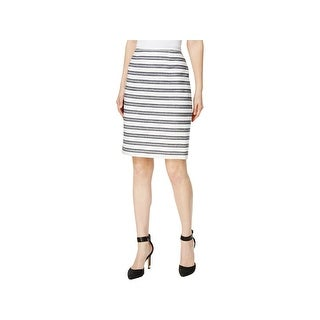Calvin Klein Womens Petites Pencil Skirt Striped Mini