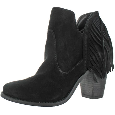 Jessica Simpson Women's Cecila Suede Ankle Booties Fringe