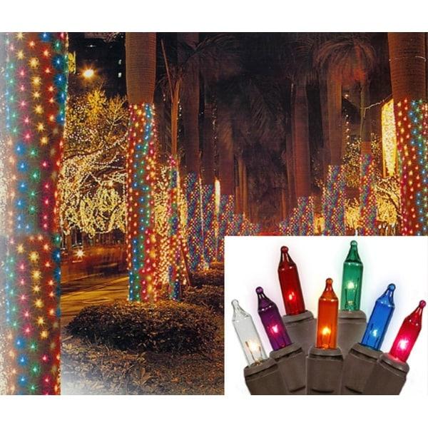 2' x 8' Multi Twinkle Christmas Net Style Tree Trunk Wrap Lights - Brown Wire
