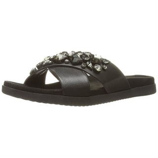 Easy Spirit Womens Marvina Leather Open Toe Casual Slide Sandals
