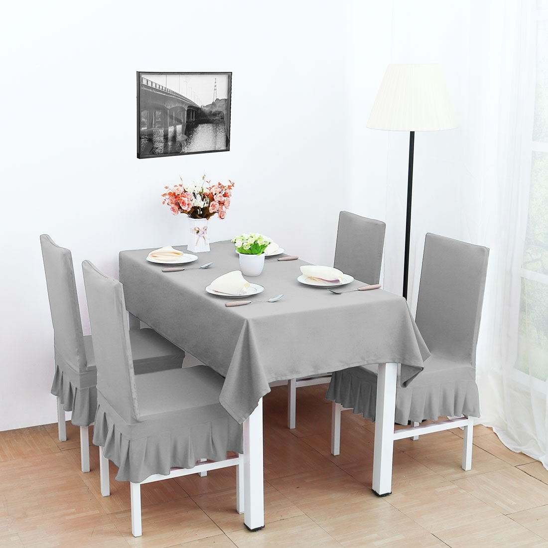 Magnificent 4Pcs Stretch Dining Room Chair Covers Seat Protector Alphanode Cool Chair Designs And Ideas Alphanodeonline