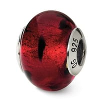 Italian Sterling Silver Reflections Red/Black Bead (4mm Diameter Hole)