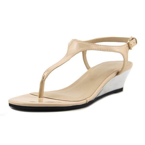 Athena Alexander Lunna Women Open Toe Synthetic Nude Wedge Sandal