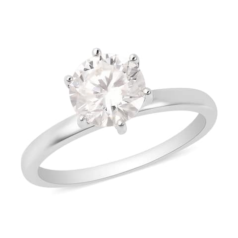 Rhodium Over White Gold Moissanite Solitaire Ring Size 7 Ct 1.5