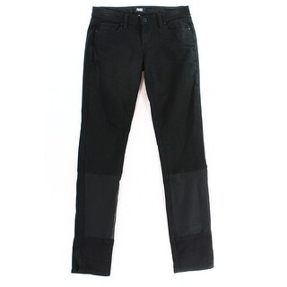 Paige NEW Black Women's Size 25X31 Slim Skinny Seamed Solid Stretch Jeans