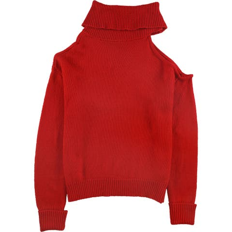 GUESS Womens Cold-Shoulder Pullover Sweater, Red, Large