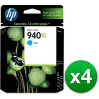 HP 940XL High Yield Cyan Original Ink Cartridge (C4907AN) (4-Pack)
