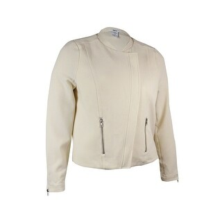 Bar III Women's Zipper-Trim Crepe Moto Jacket - Eggnog