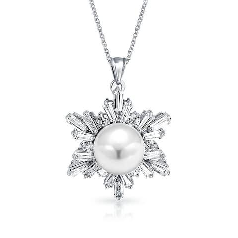 "Bridal Flower CZ Pendant Imitation Pearl 8mm Rhodium Plated Brass 16"""