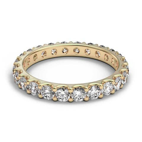 14K Yellow Gold 1.40 CT Round Prong Diamond Eternity Wedding Band