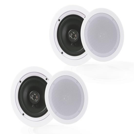 """5.25"""" In-Wall / In-Ceiling Speakers, 2-Way Flush Mount Home Speaker Pair, 150 Watt"""