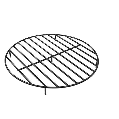 "Sunnydaze Firewood Grate Round Black Steel Outdoor Fire Pit Accessory - 30"""