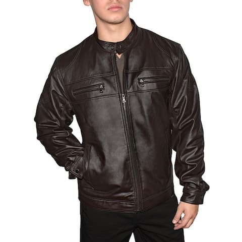 Victory Outfitters Men's Genuine Leather Multi Pocket Motorcycle Jacket